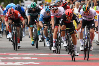 Sam Bennett, right, sprints against Caleb Ewan, left, at the Tour Down Under.