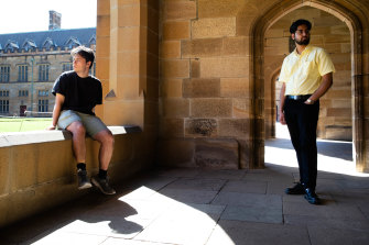 Cooper Forsyth, left, and Swapnik Sanagavarapu at the University of Sydney, are both still doing online learning due to the COVID-19 pandemic.
