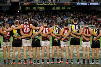 Richmond and Essendon players line up together at Dreamtime at the 'G last year.