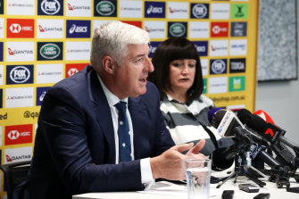 Recently departed Rugby Australia chairman Cameron Clyne and Raelene Castle.