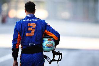 A dejected Daniel Ricciardo crashed in qualifying in Azerbaijan.