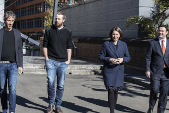 Atlassian co-founders Scott Farquhar and Mike Cannon-Brookes along with NSW Premier Gladys Berejiklian and NSW Jobs Minister Stuart Ayres.
