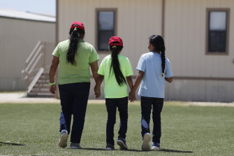 Immigrants at the ICE South Texas Family Residential Centre in Dilley.