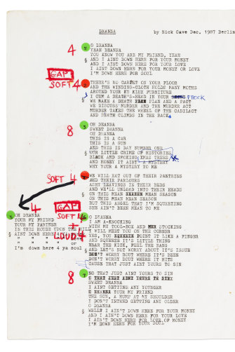 Song lyrics for 'Deanna' by Nick Cave, 1987