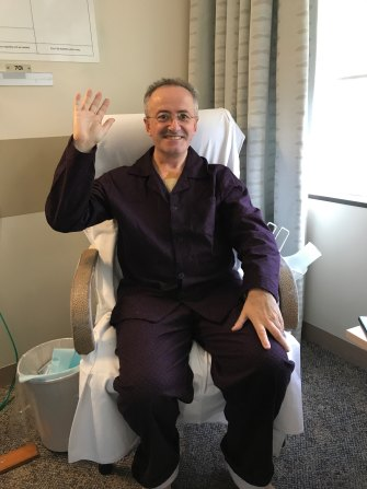 Andrew Denton in recovery after his heart operation.