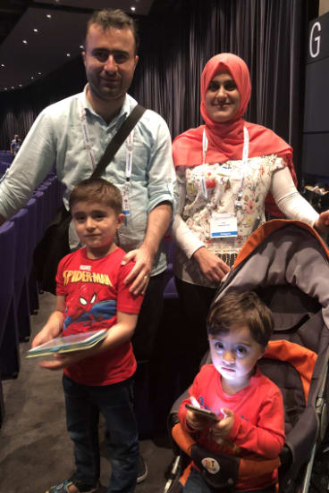 Sangar Hasan and Srwa Amin with their children Sam and Arya (right) at the congress in Glasgow.