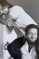 Frank Robson holds up one of his party mates during the wild '70s.