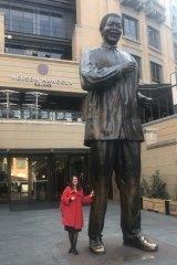 A statue of Nelson Mandela at Nelson Mandela Square in Sandton, Johannesburg.