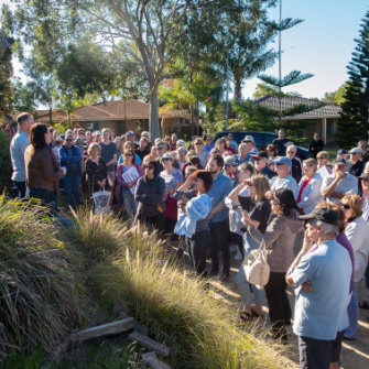Edgewater residents in the City of Joondalup gathered recently to protest a medium density infill development.