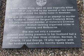 The graveside plaque.