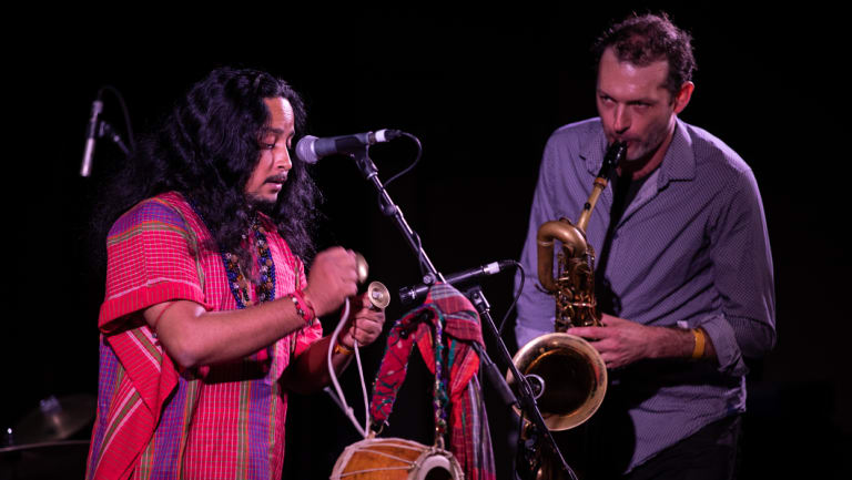 Raju Das Baul and Matt Keegan at the Wangaratta Festival of Jazz and Blues