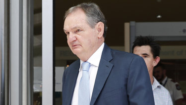 Former Ipswich mayor Paul Pisasale leaves the Magistrates court on Tuesday, November 7, 2017. Pisasale has faced court on six more charges stemming from a corruption watchdog investigation.