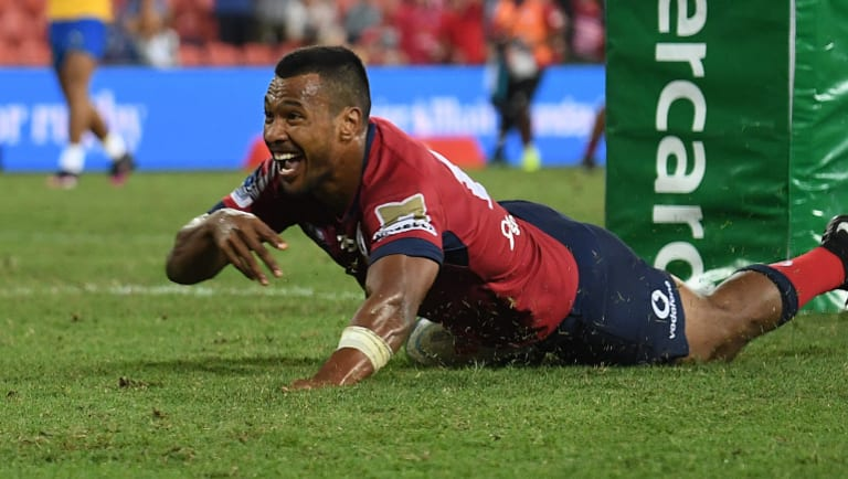 Bright spark: Aidan Toua finishes off a stunning Reds counter-attack.