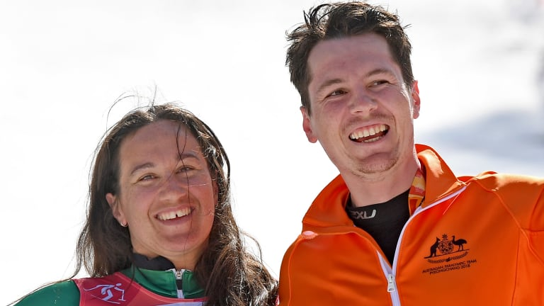 Dual Winter Paralympic bronze medalist Melissa Perrine with her guide Christian Geiger.