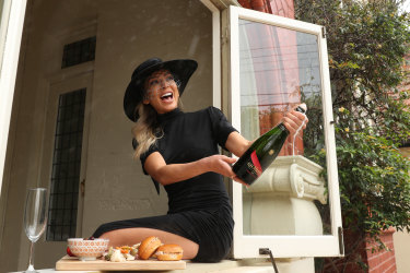 THE AGE VRC ambassador Nadia Bartel on Derby Day, October 31, 2020. Photo: VRC