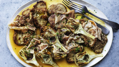 Neil Perry's veal escalopes with artichoke and prosciutto