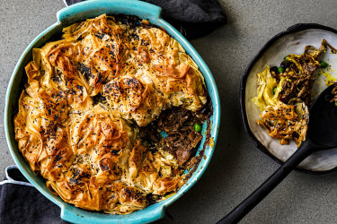 Green lamb shoulder shawarma and pea pie with sumac butter filo. Katrina Meynink's spring greens recipes for Good Food September 2020. Please credit Katrina Meynink. Good Food use only.