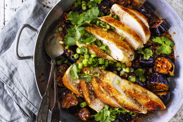 Neil Perry recipe : Chicken with Fish-fragrant eggplant.