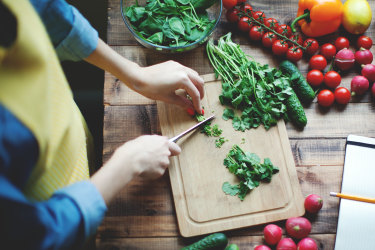 Cooking with fresh seasonal produce.