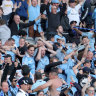 Sydney FC fans react during the grand final in Perth.