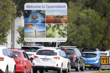 Long queues plague motorists arriving at Queensland border checkpoints.