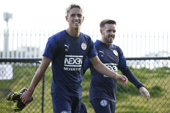 Melbourne City's Lachlan Wales and Craig Noone at training last month. City were one of three Victorian teams unable to get across the border for the second night in a row on Tuesday.