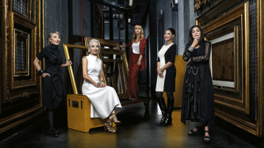 Five art-loving women who donated millions to the Sydney Modern project (from left): Anita Belgiorno-Nettis, Sam Meers, Clare Ainsworth Herschell, Gretel Packer and Gene Sherman at AGNSW's off-site storage facility.