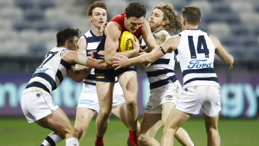 Star Demons defender Jake Lever taking on the Cats in round 23.