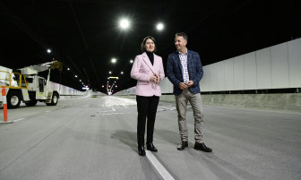 NSW Premier Gladys Berejiklian and Minister for Transport and Roads Andrew Constance inside the new M4 tunnel last year.