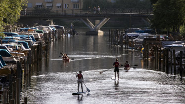 Paddle boards and canoes on Palsundet in central Stockholm last month.