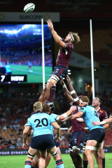 Angus Scott-Young wins the ball at a lineout against the Waratahs.