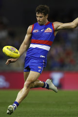 Josh Dunkley shows his style for the Bulldogs.