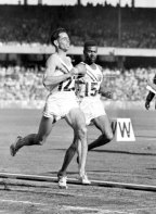 Jim Bailey wins the third heat of the 800 metres, Melbourne Olympics, 1956.