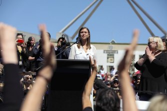 Brittany Higgins speaks at the March 4 Justice protest outside of Parliament House in Canberra.