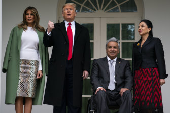 'Fascinated by height': President Donald Trump and first lady Melania Trump welcome Ecuadorian President Lenin Moreno and his wife Rocio Gonzalez to the White House, on Wednesday.
