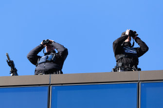 Police snipers are seen on the roof of Christchurch High Court prior to the sentencing of Brenton Tarrant on Thursday.
