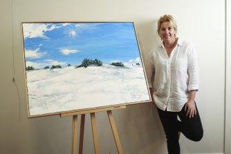 Artist Bridie O'Brien with her work <i>Fresh Snow</i>.
