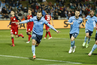 Adam Le Fondre celebrates after scoring a penalty.