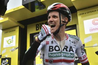 Patrick Konrad of Austria celebrates after winning the 16th stage of the Tour de France.