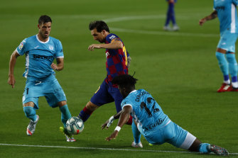 Lionel Messi was at his mercurial best as Barcelona won their first   home league game since the coronavirus shutdown.