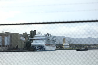 The Ruby Princess cruise ship docked at Port Kembla on Thursday.