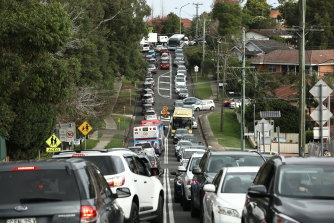 A traffic line during school pick-up around James Ruse Agricultural High School and Carlingford West Public School.