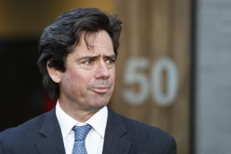 AFL chief executive Gillon McLachlan speaks to the media on Wednesday.