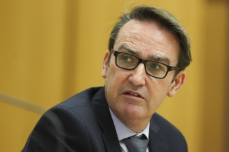 Treasury Secretary Dr Steven Kennedy during a Senate estimates hearing at Parliament House in Canberra on  Wednesday.