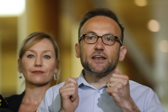Greens leader Adam Bandt and co-deputy Larissa Waters