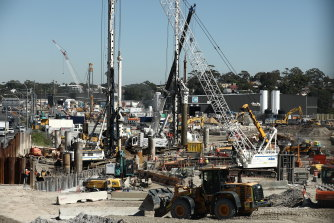 Construction on the site of the former Rozelle rail yards.