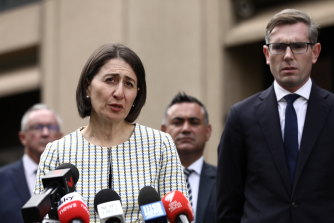 NSW Premier Gladys Berejiklian and Treasurer Dominic Perrottet, who says the latest spending measures were designed for maximum impact.