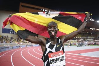 Joshua Cheptegei celebrates breaking the men's 5000 metre record in Monaco last year.