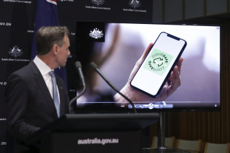 Health Minister Greg Hunt during a press conference on the COVIDSafe tracing app on Sunday.