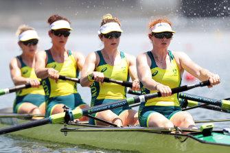 Australia's women's four led from start to finish.